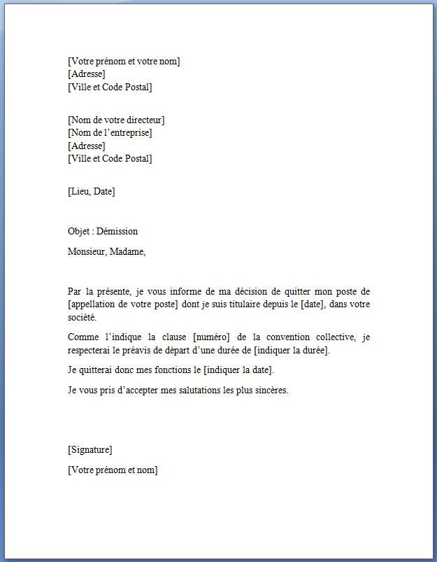 lettre de demission gratuite