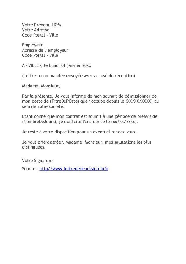lettre de demission pendant conge parental sans preavis - Modele de lettre type
