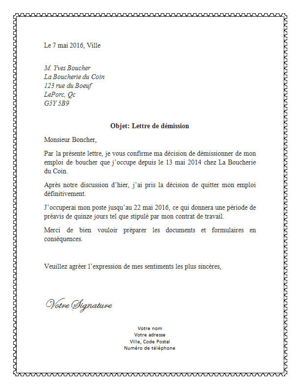 lettre de demission pour un travail