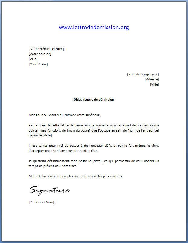 lettre de demission suite a un conge sans solde - Modele de lettre type