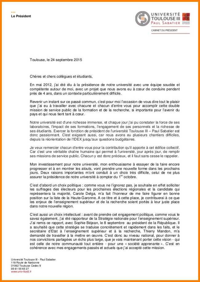 lettre de demission universite