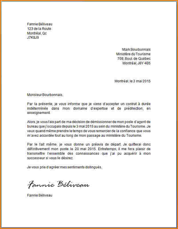 lettre de demisssion