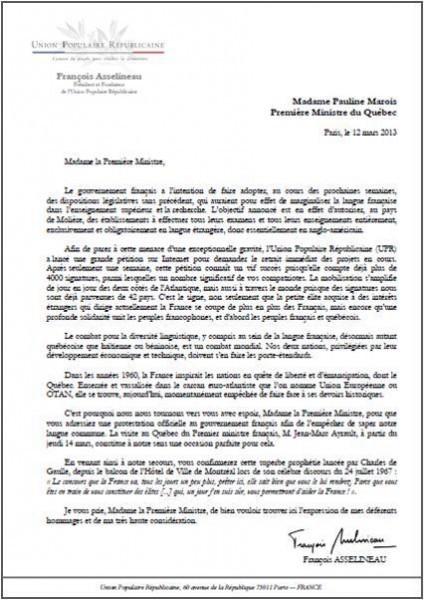 lettre de desistement en anglais