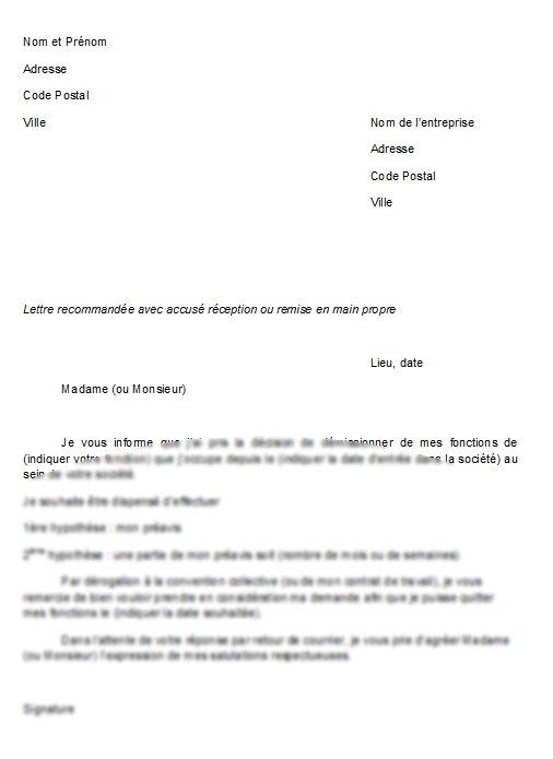 lettre de dispense
