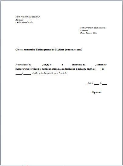 lettre de justificatif de domicile des parents