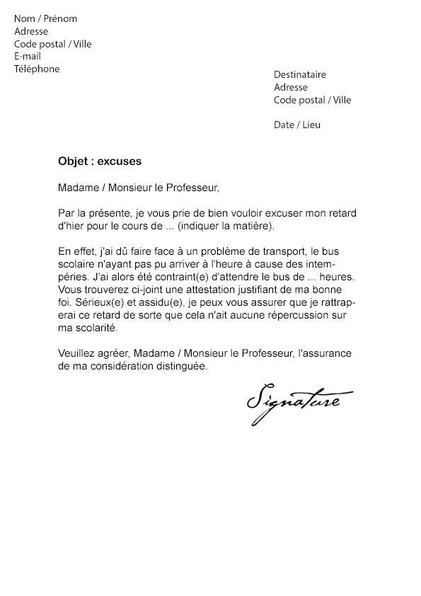 lettre de justification de retard