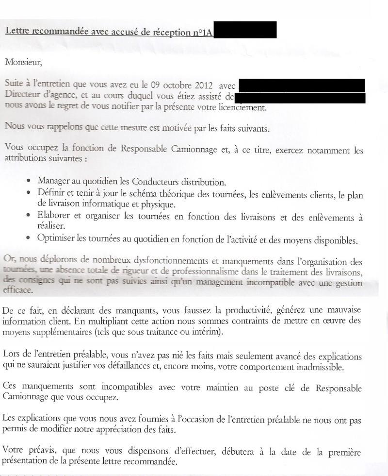 lettre de licenciement inaptitude