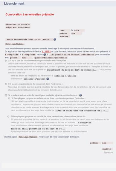 lettre de licenciement pour inaptitude non professionnelle