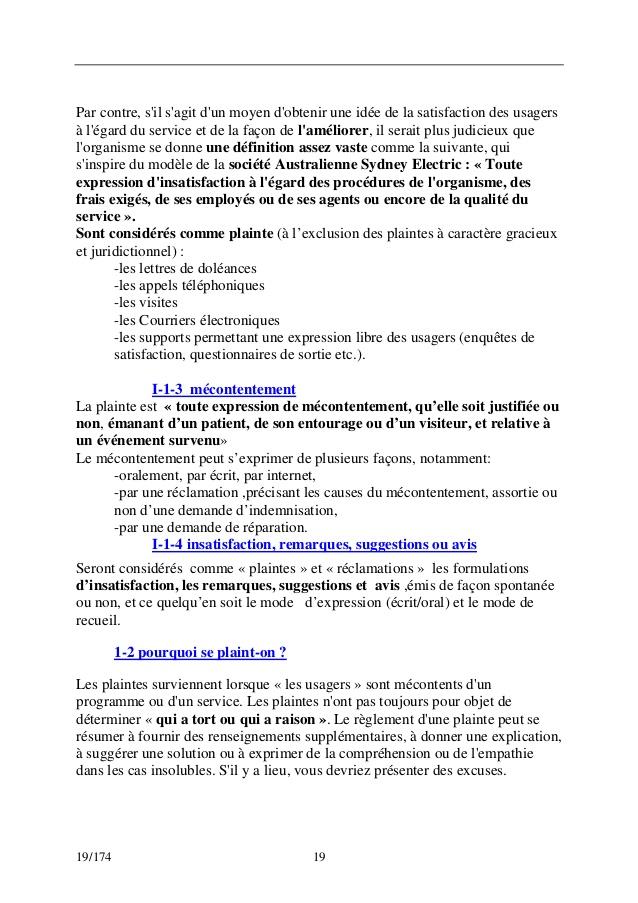 lettre de mecontentement d u0026 39 un service
