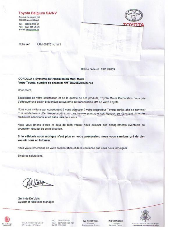 lettre de mecontentement garage