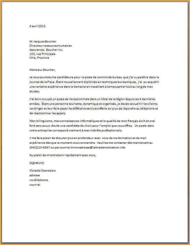 lettre de motivation assistant qualite - Modele de lettre type