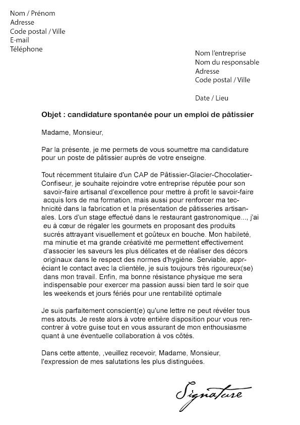 lettre de motivation candidature spontanee agroalimentaire - Modele de lettre type