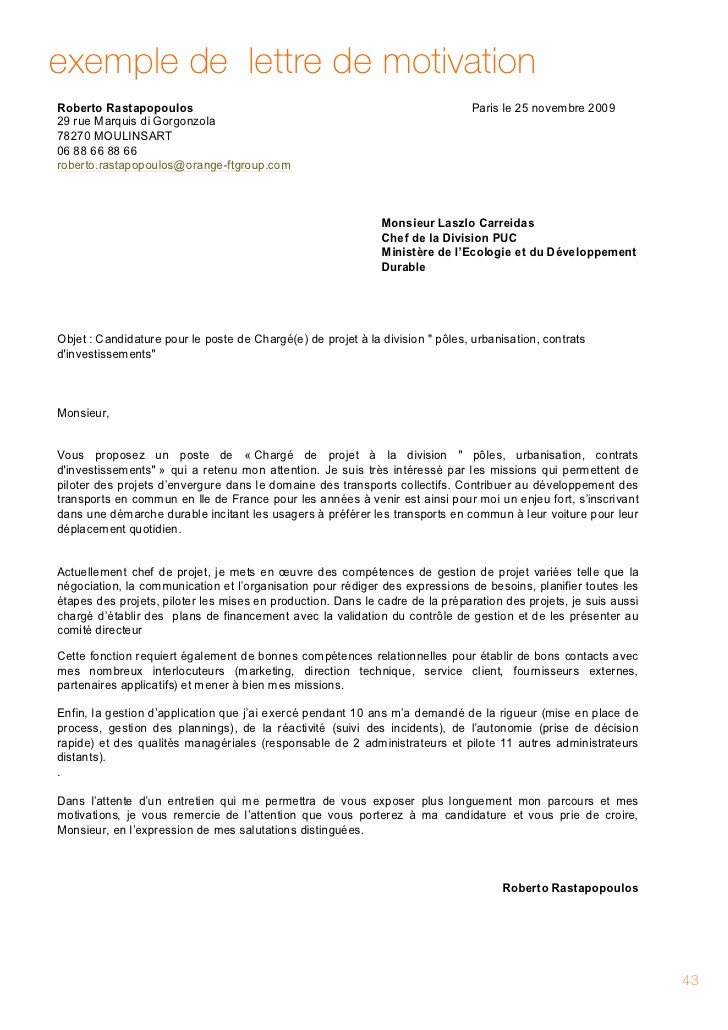 lettre de motivation charge de projet