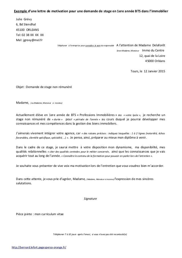 lettre de motivation demande de stage bts - Modele de lettre type