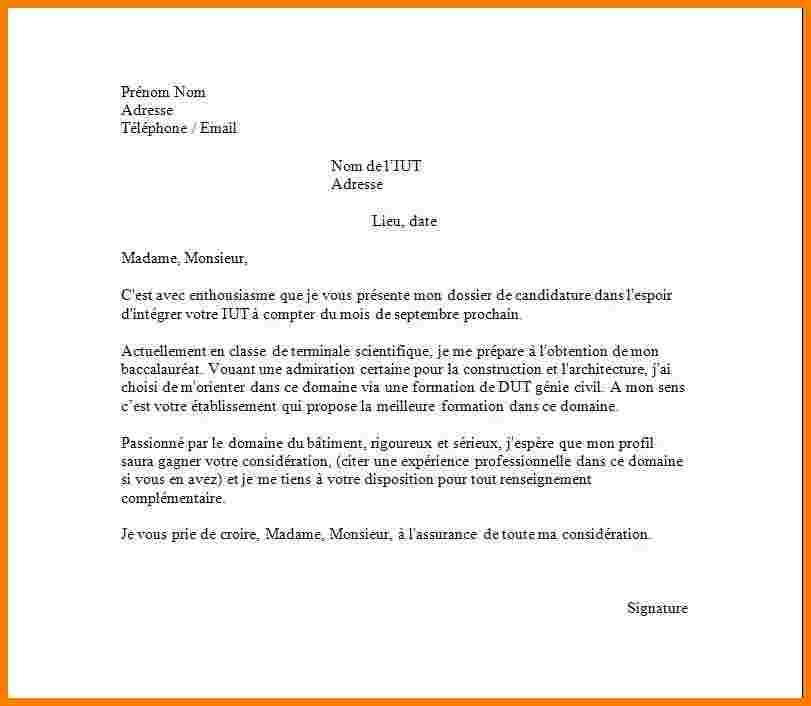 lettre de motivation dut reseau et telecommunication