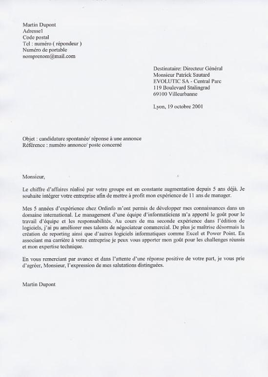 lettre de motivation ecrite ou informatique
