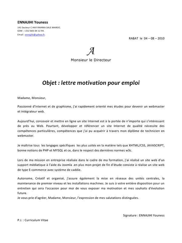 Lettre De Motivation Exemple Pdf Modele De Lettre Type