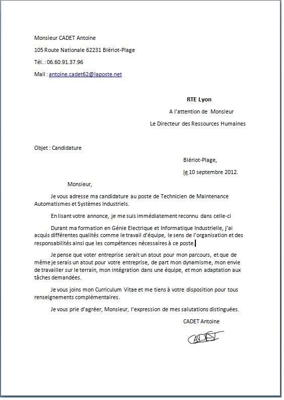 lettre de motivation exemple pdf