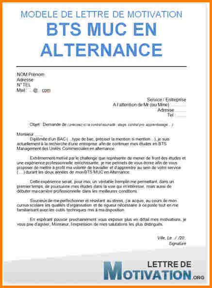 lettre de motivation gratuite bts nrc