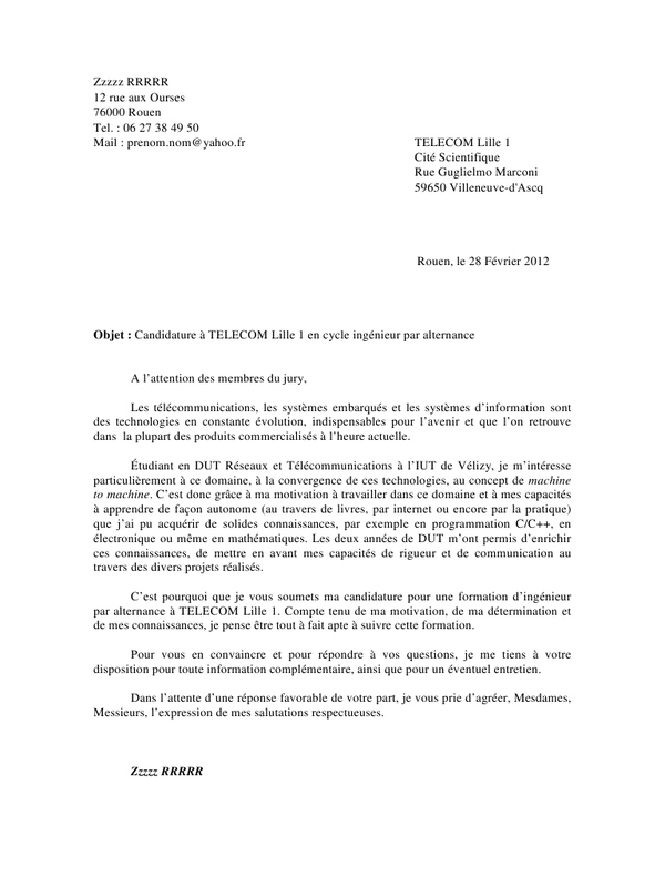 lettre de motivation ingenieur genie civil