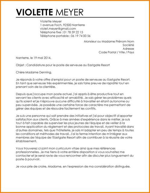 lettre de motivation manager restaurant