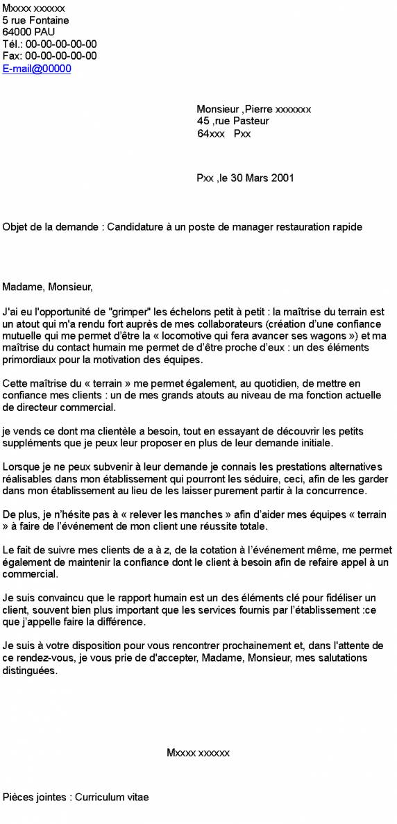 lettre de motivation manager restauration