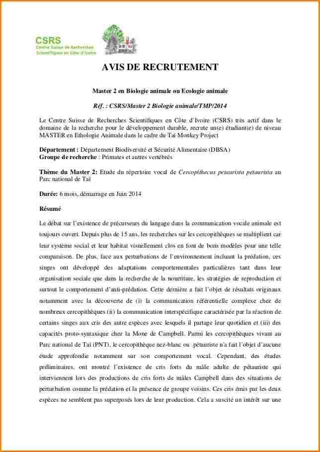 lettre de motivation master ii - Modele de lettre type