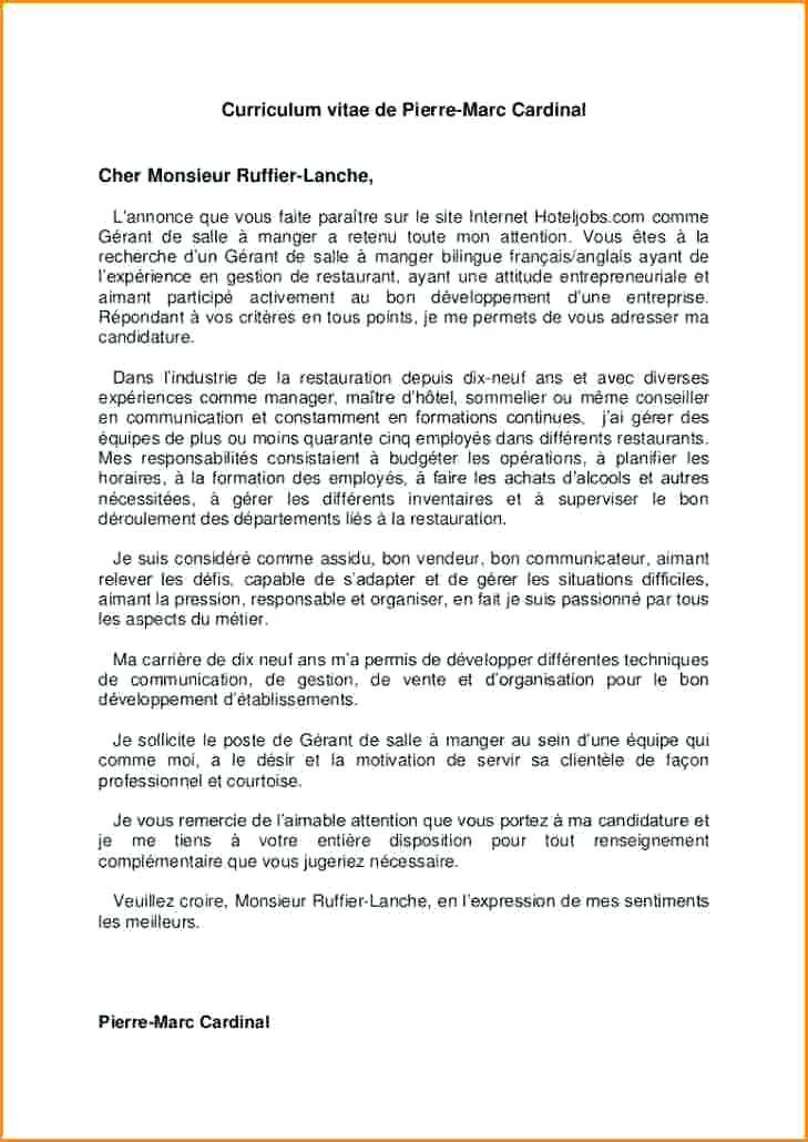 lettre de motivation pour cadre commercial - Modele de ...