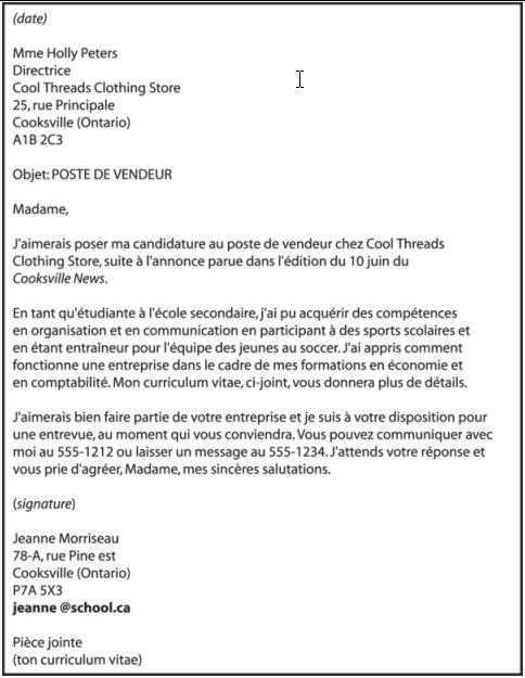 lettre de motivation pour emploi exemple