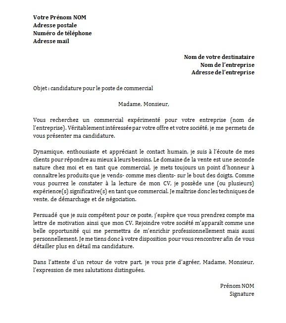 e58ebe6a407 lettre de motivation pour poste commercial - Modele de lettre type