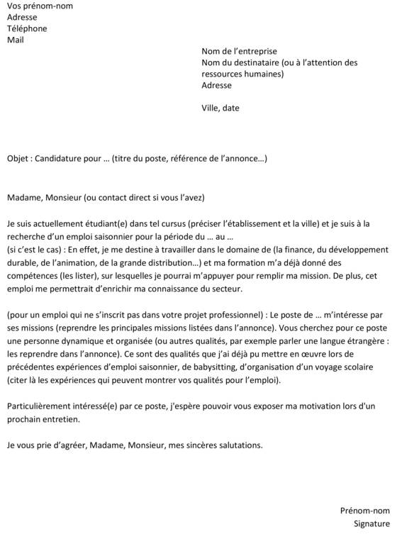 lettre de motivation pour un emploi gratuit