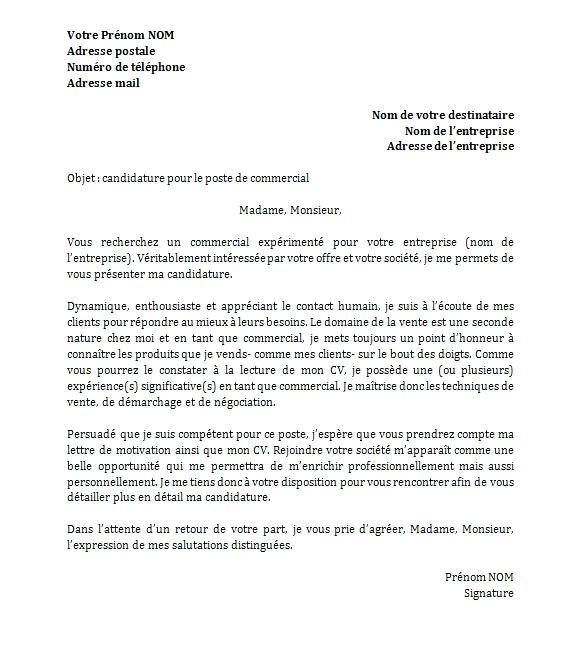 lettre de motivation secretaire commerciale