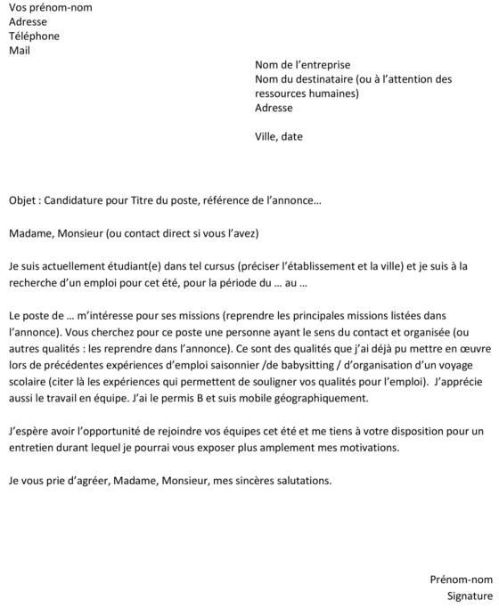 lettre de motivation spontanee job etudiant