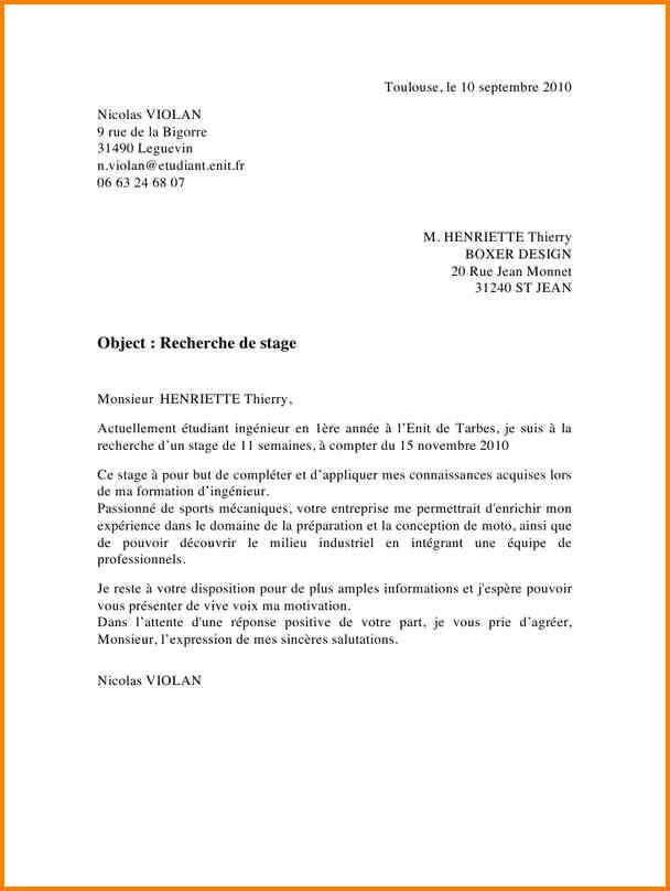 lettre de motivation stage assistant ingenieur