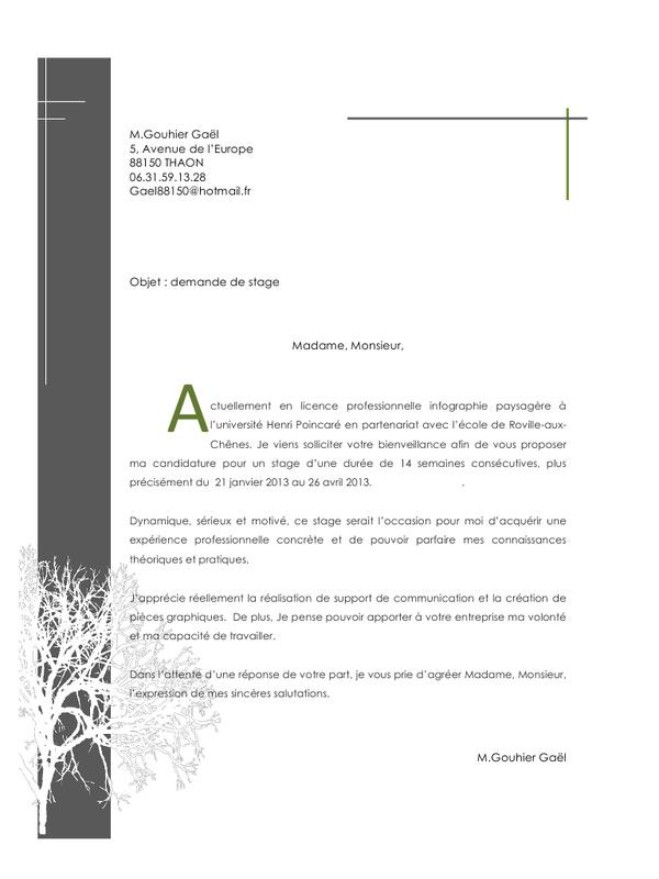 lettre de motivation stage graphisme - Modele de lettre type