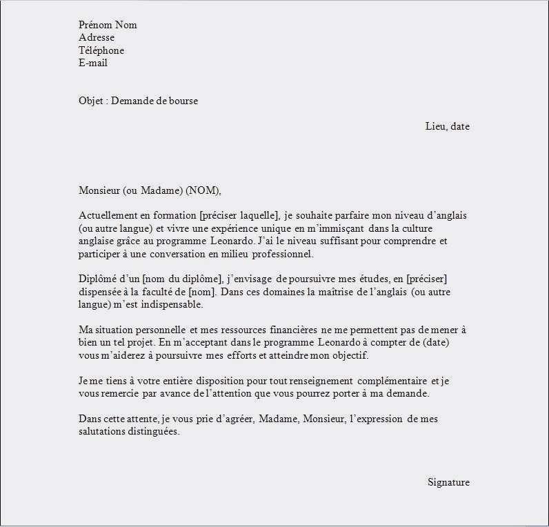 lettre de motivation stage master - Modele de lettre type