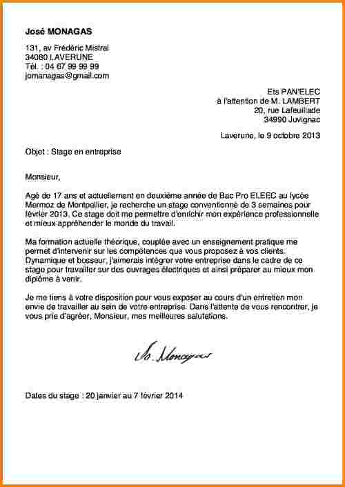 lettre de motivation stage simple