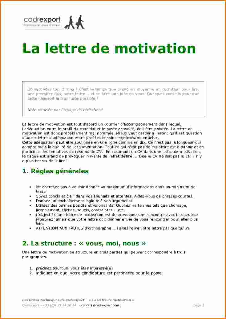 lettre de motivation type candidature spontanee gratuite