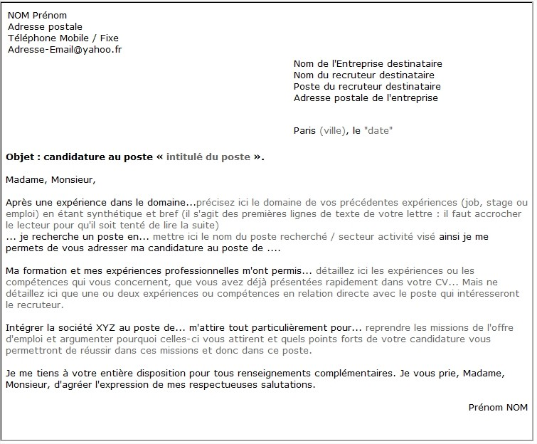 lettre de motivation type modele gratuit