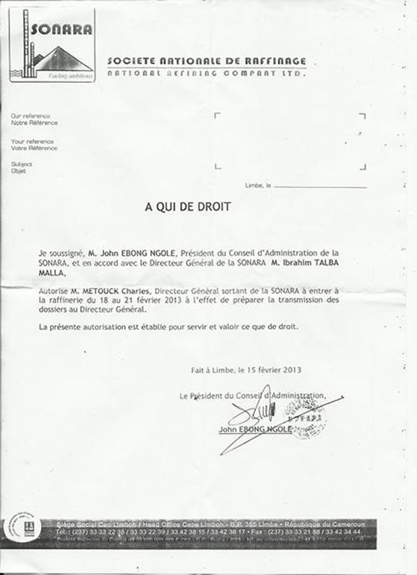 lettre de passation de pouvoir