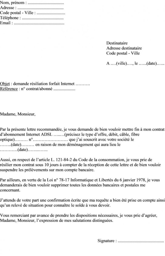 lettre de preavis 1 mois