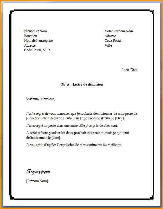 lettre de preavis exemple