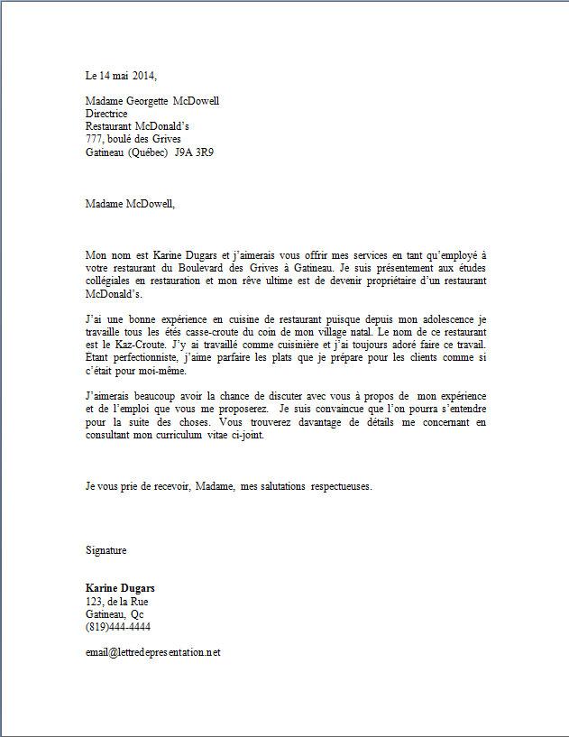 lettre de presentation curriculum vitae