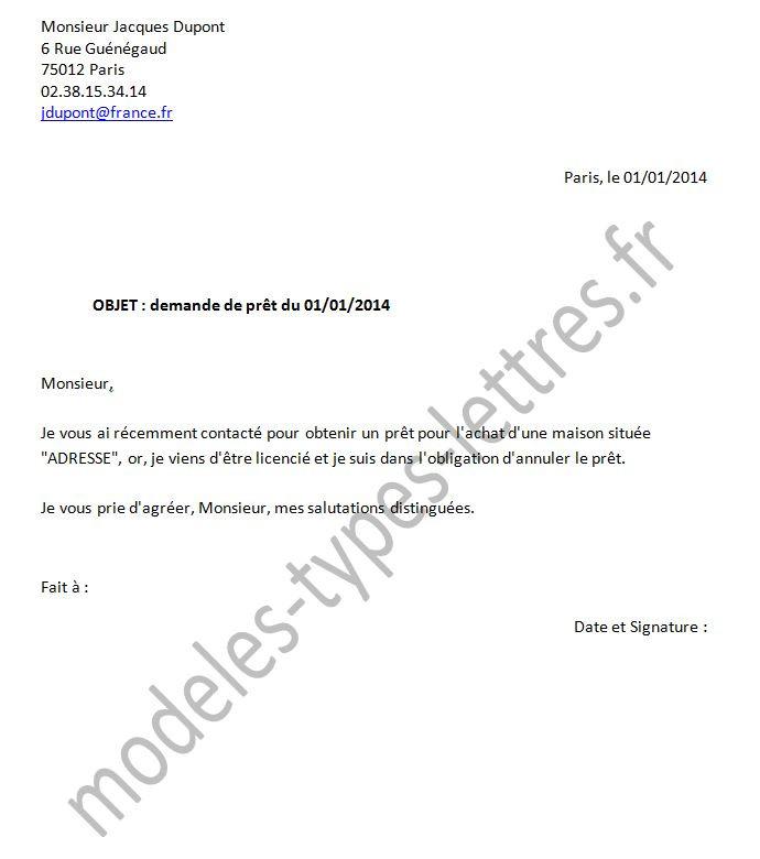 lettre de pret d'argent entre particulier