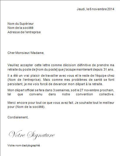 lettre de prise de retraite