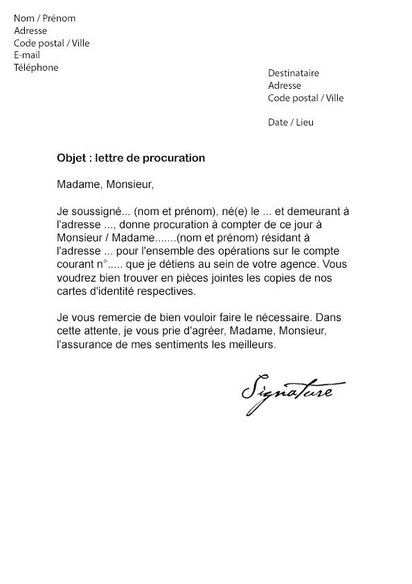 lettre de procuration bancaire pdf