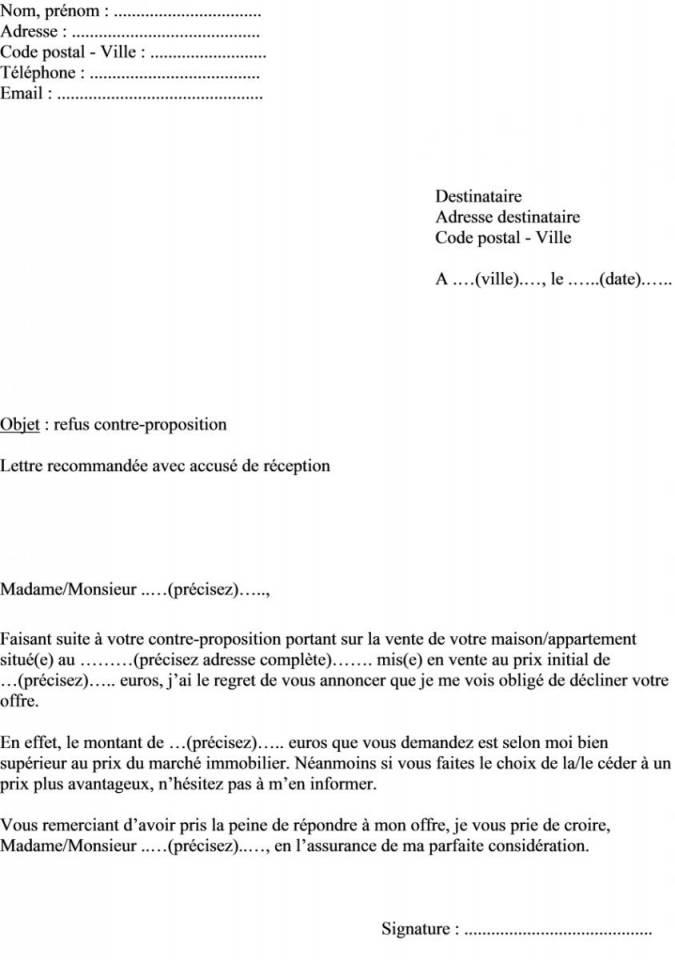 lettre de proposition de vente