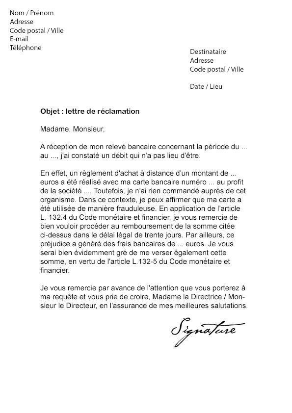 lettre de reclamation banque