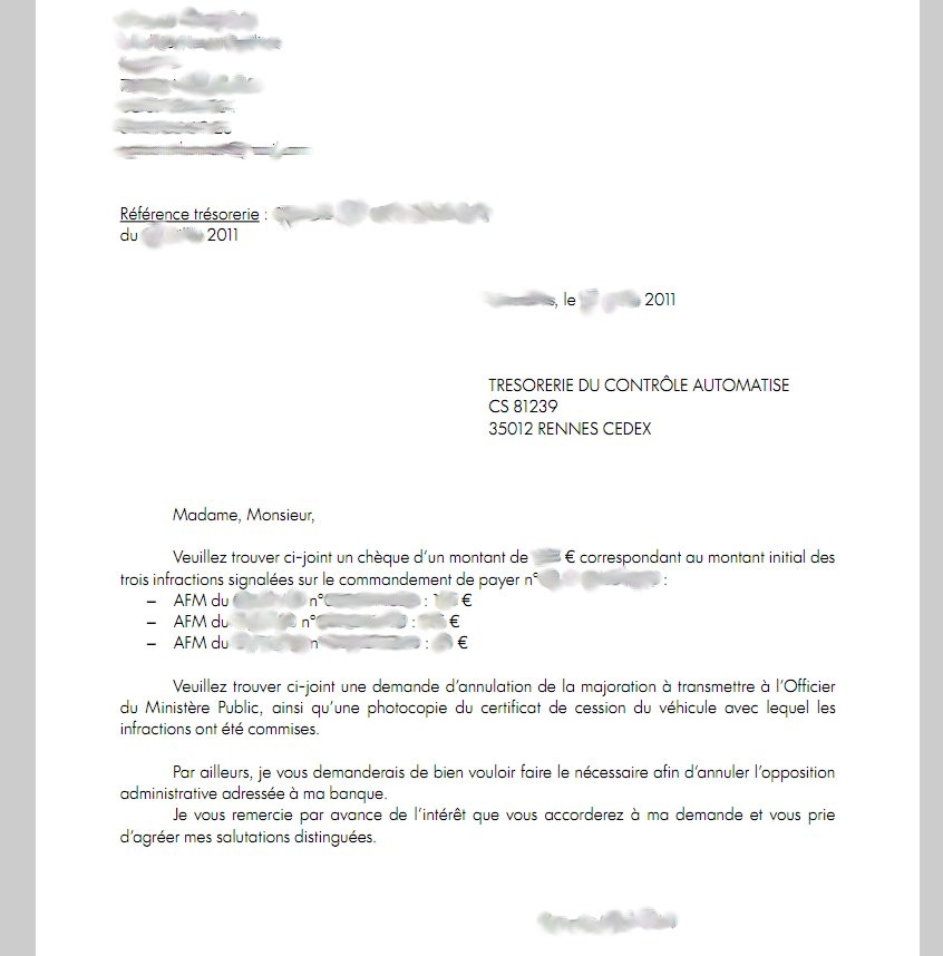 lettre de reclamation de dette