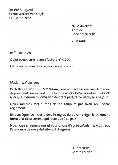 lettre de reclamation facture impayee